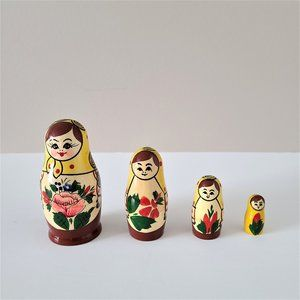 Russian vintage traditional wooden nesting doll.